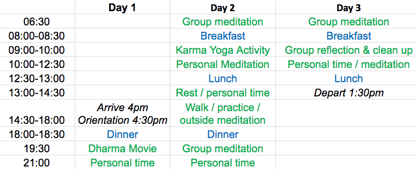 Long Weekend Retreat Schedule